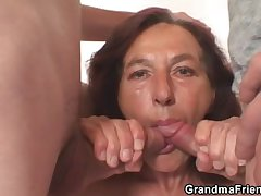 Naughty granny takes several young dicks