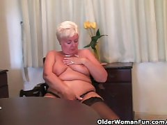Chubby granny in stockings plays apropos vibrator