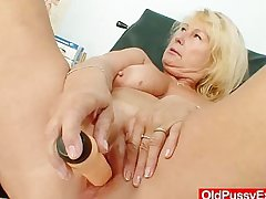 Astounding busty gramma boobies and muff gyno examination