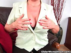 Grandma Less Stockings Massages Her Big Tits And Finger Fucks Her Old Pussy