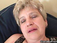 Horrific granny takes two cocks necessitate