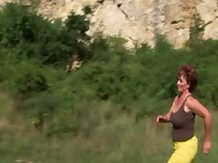 Amateur granny GILF sucks young bushwa outdoor