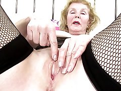 Kinky granny with old pierced hungering vagina