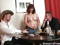 Poker playing granny is fucked away from two guys