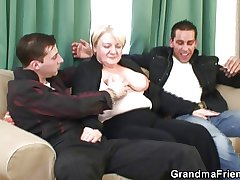 Granny is picked up plus double fucked