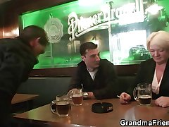 Two friends go on with and fuck boozed granny