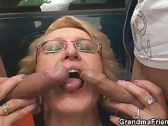 Slutty granny takes several cocks in the fields