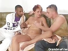 Disconsolate granny takes two cocks at on the eve of