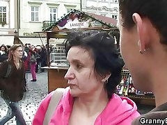 Old granny tourist jumps on his cock