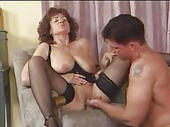 Granny in Stockings Spreads for Bushwa