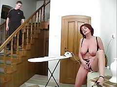 Mature housewife increased by young people