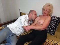Oldnanny aged and young strapon pumping and masturb
