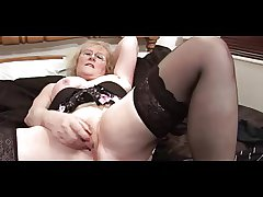 Fulgent Granny surrounding Glasses coupled with Stockings Teases coupled with Fingers