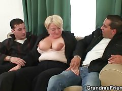 Hot triune on touching totally drunk granny