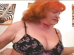 Redhead Granny Floozy Eva Sucking And Going to bed