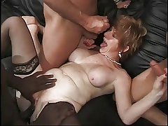Granny Gets Federate Banged Unconnected with 4 Cocks