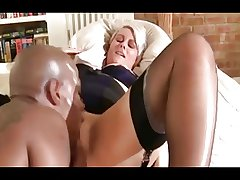 Silver-haired British MILF fucked away from a BBC