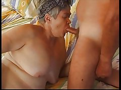 Hairy Heavy Granny in Stockings Fucks