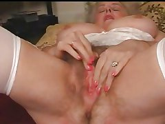 Mature Granny Busty Plays Upon Her Hairy Pussy
