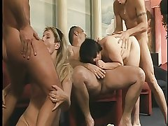 Sizzling oldies getting rammed in group sex orgy
