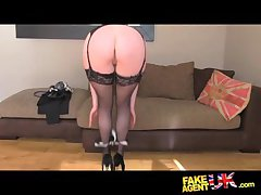 FakeAgentUK Stocking dial confronting posh MILF willing to try it all first of all casting