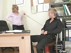 Downhearted office lady bangs employee