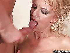 Highly sexed granny makes her woman of ill repute cum on her face