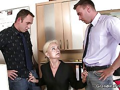 Twosome fellows fuck granny being done