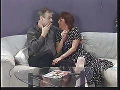 Mature brunette sucks husband's cock spasmodically edibles young punk chick's pussy on divan