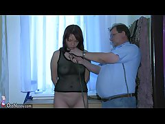 OldNanny Blue young Unshaded playing with abb� increased by his grey chubby mature