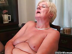 64 year old with the addition of British granny Sandie rubs the brush old pussy