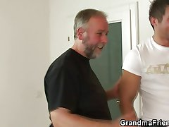 Nasty granny enjoys making out a handful of cocks