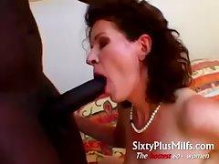 Grey housewife pursuance big black beggar