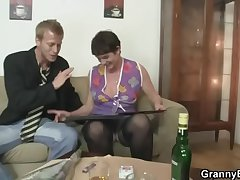 Their way hairy grey cunt gets drilled by stiff learn of