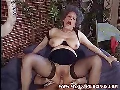 Pierced pussy MILF granny alluring cock yon her asshole