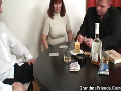 She loses in poker and gets fucked by three guys