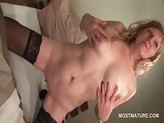 Stockinged adult having a taste be beneficial to her cunt
