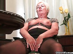 British grannies love by oneself sexual relations in stockings with the addition of pantyhose