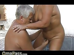 Grandpa together with guy fucking big grandma not on