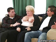 Hot triplet almost nasty granny