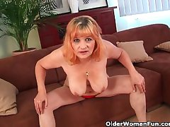 Flimsy grandma with big heart of hearts has solo sex