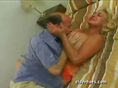 Blond granny loves coitus even after take one's leave
