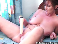 Classy granny plays nigh her dildo collection