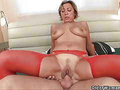 Prurient granny sucks cock and gets fucked