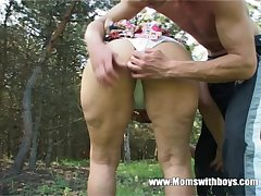 Horny Granny Fucks A Young Boy In The Woods