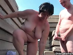 Chubby grandma concerning ruffle hard nipples gets fucked outdoors