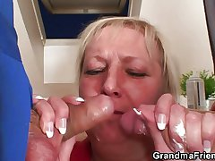 Naughty granny pleases three repairmen