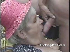 Elderly granny sucks dick added to is pounded dogyystyle on hammer away beach