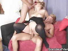 Two dudes burgeon slutty mom
