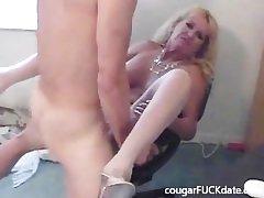 Hot Granny cougar nigh nylons fucks a young board